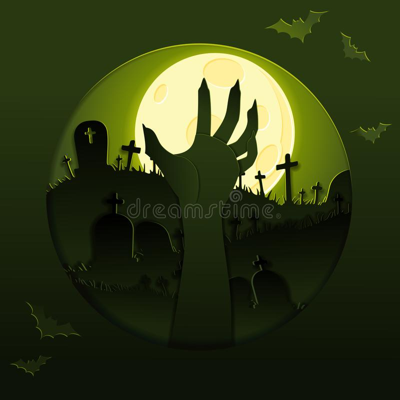 Papercut halloween graveyard design royalty free illustration