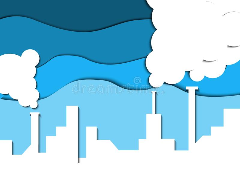 Papercut industrial pollution. Save earth. stock illustration