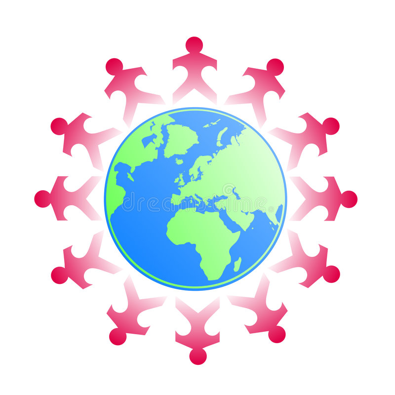 Papercut kids around the world. Vector illustration of kids as papercuts all around the world holding their hands vector illustration