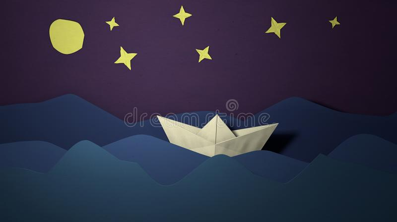 Papercut sailing boat postcard. Paper craft boat in the sea waves. Cutout ship. Origami crafted paper boat sailing float royalty free illustration