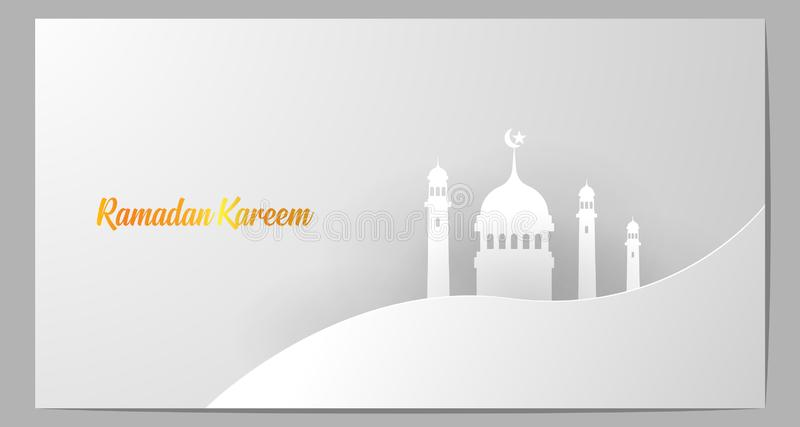 Papercut with the theme of the Islamic religion `Ramadan`. Greeting card with a luxurious white domination design and gold font. Enjoy for user royalty free illustration