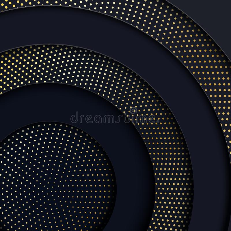 Papercut vector abstract circle black shape and golden dots background. Layered backdrop with dark grey round form paper. Papercut abstract circle black shape stock illustration