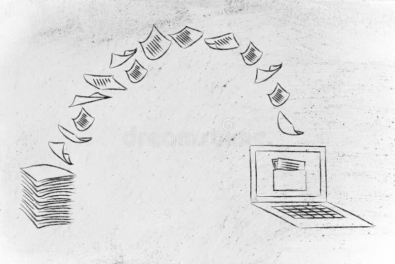 Paperless kontor: avläsande dokument och roterande papper in i data royaltyfri fotografi