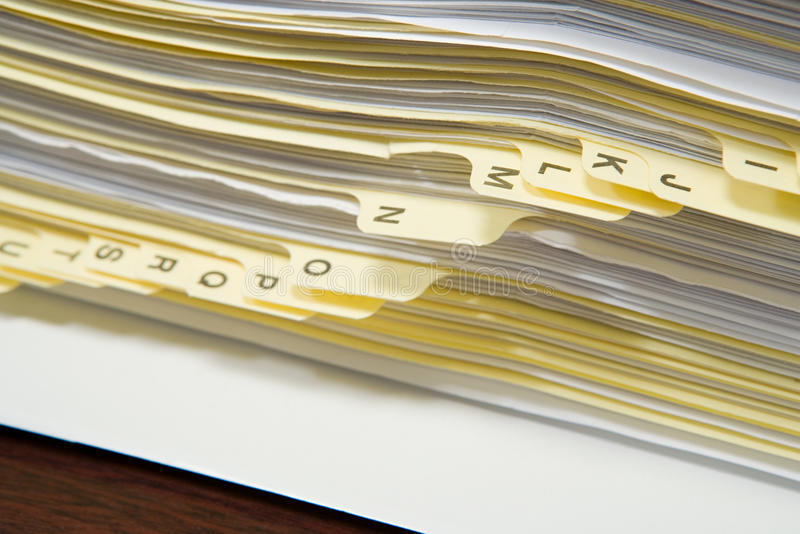 Papers in alphabetical order royalty free stock photos