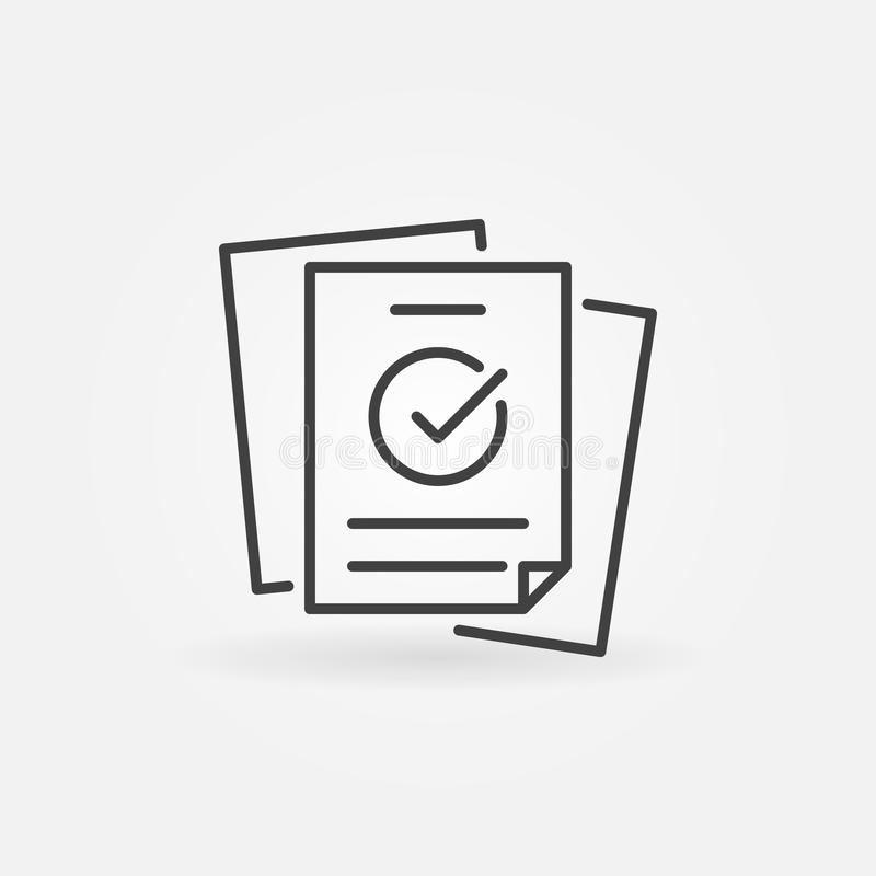 Papers with checkmark linear vector concept icon stock illustration