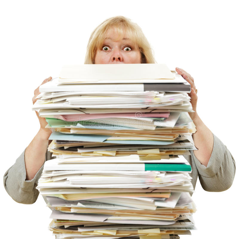 papers stack woman στοκ φωτογραφίες με δικαίωμα ελεύθερης χρήσης