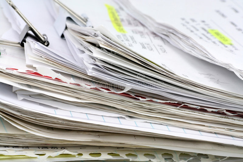 Paperwork. Filing document, concept of paperwork royalty free stock photo