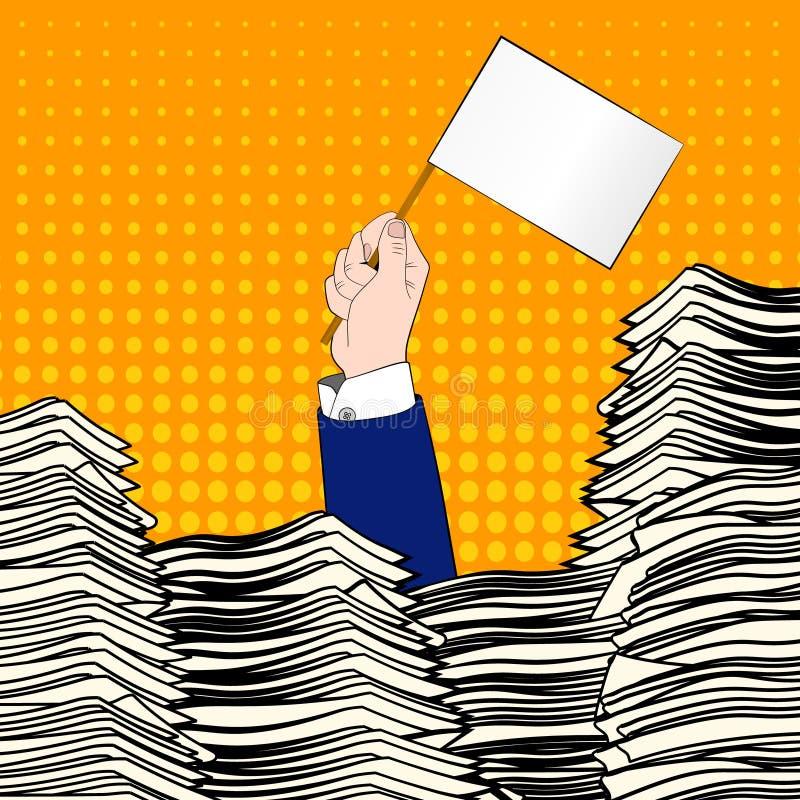 paperwork Mão do homem de negócios com bandeira branca A mesa de escritório carregou do documento, das faturas e dos muitos papéi ilustração stock