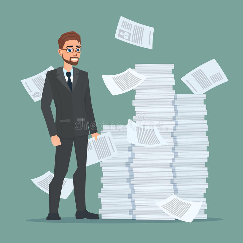 Paperwork and overworked, of an employee engaged in work vector illustration