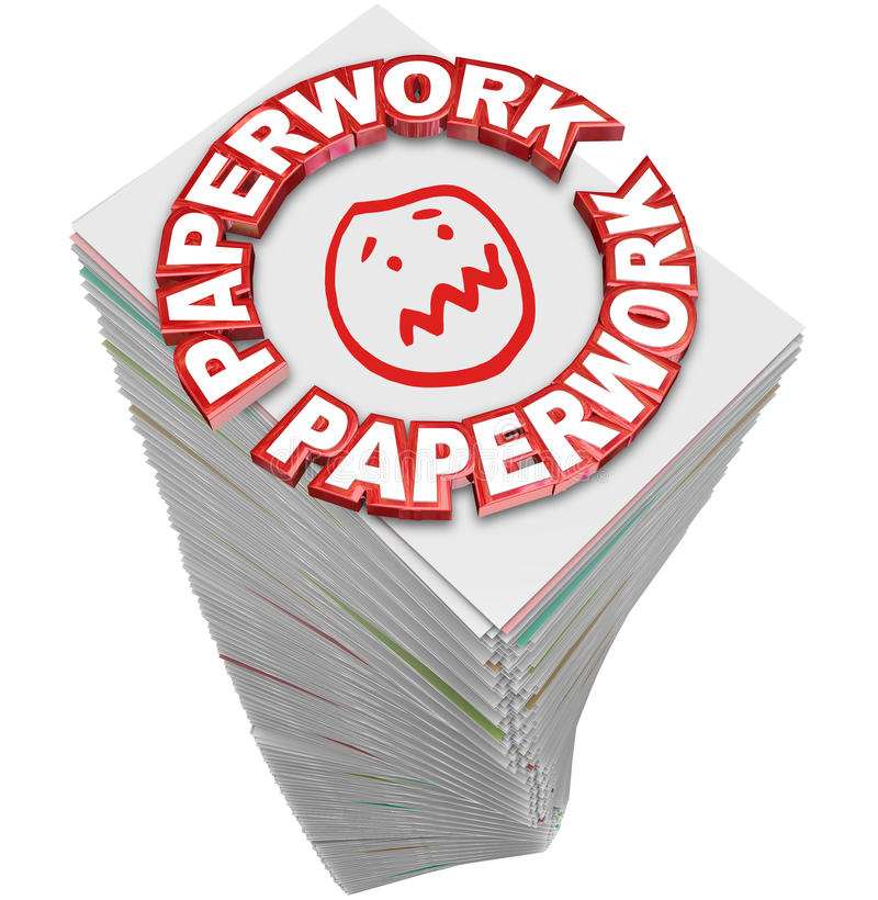 Paperwork Stack Pile Papers Files Fill Out Busy Work. Paperwork word in 3d red letters on a stack of papers you must fill out in busy work and file your project vector illustration