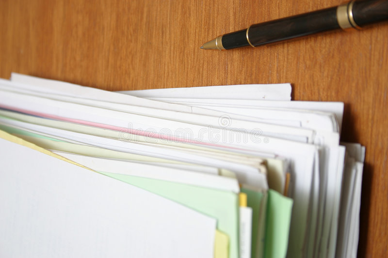 Paperwork (top view) stock image