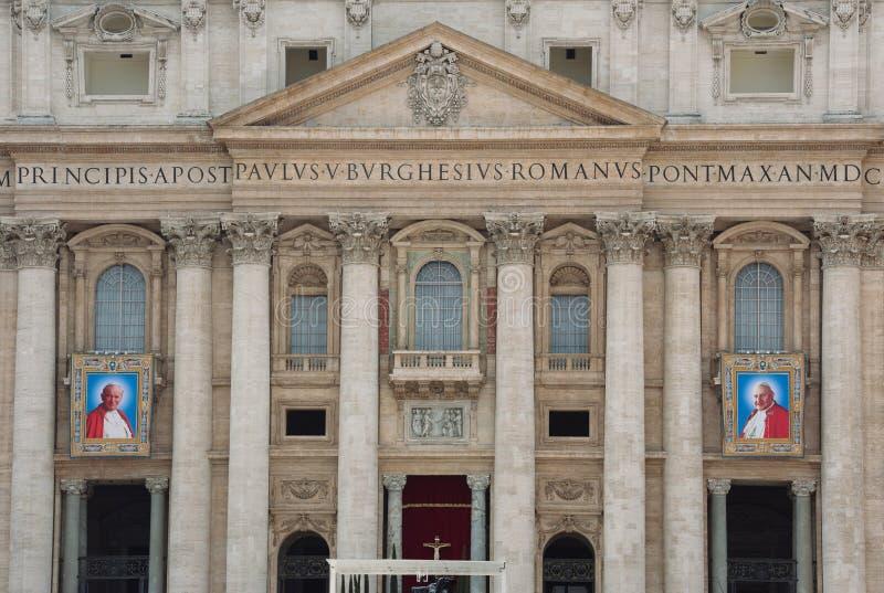 Papes John XXIII et John Paul II à canoniser images libres de droits