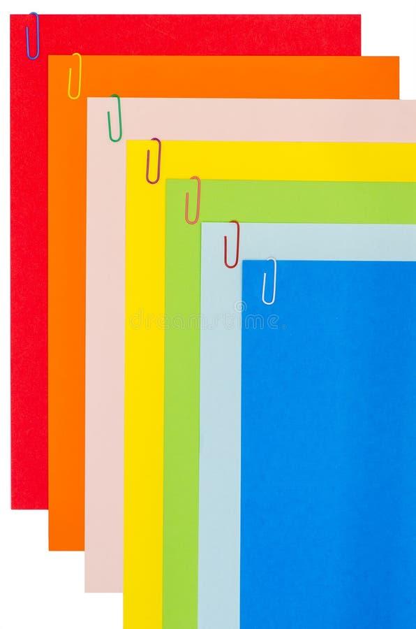 Papeterie d'arc-en-ciel avec les trombones 03 image libre de droits