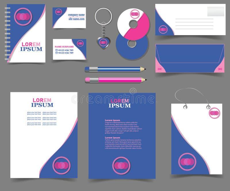 Papeterie-ensemble-stigmatiser-calibre-editable-rose-bleu illustration libre de droits