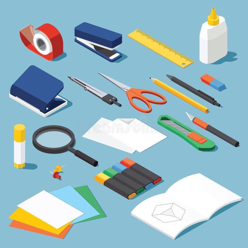 Papeterie et trousse d'outils illustration stock