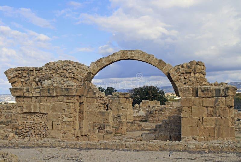 Paphos Archeologisch Park in Cyprus stock afbeelding