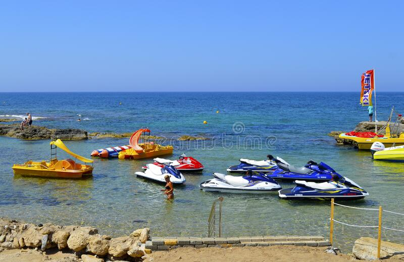 Paphos beach jet ski in Cyprus royalty free stock photography
