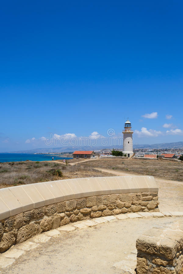 Paphos Cypr 2011 stara latarnia morska zdjęcie stock