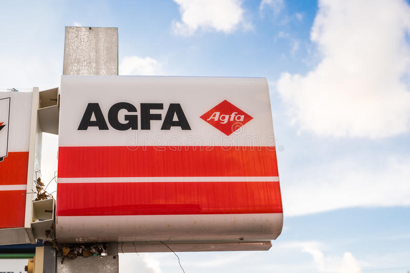 Paphos, Cyprus - February 5, 2017: Agfa label outside a store. royalty free stock images