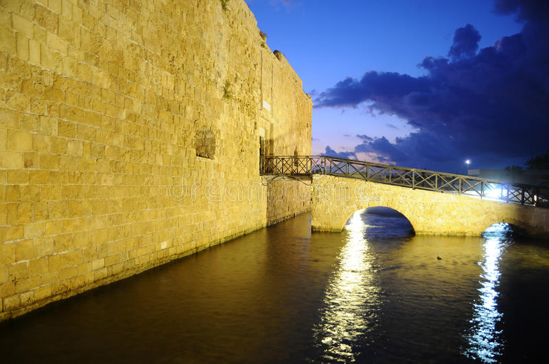 Paphos Fort In Night Stock Photos