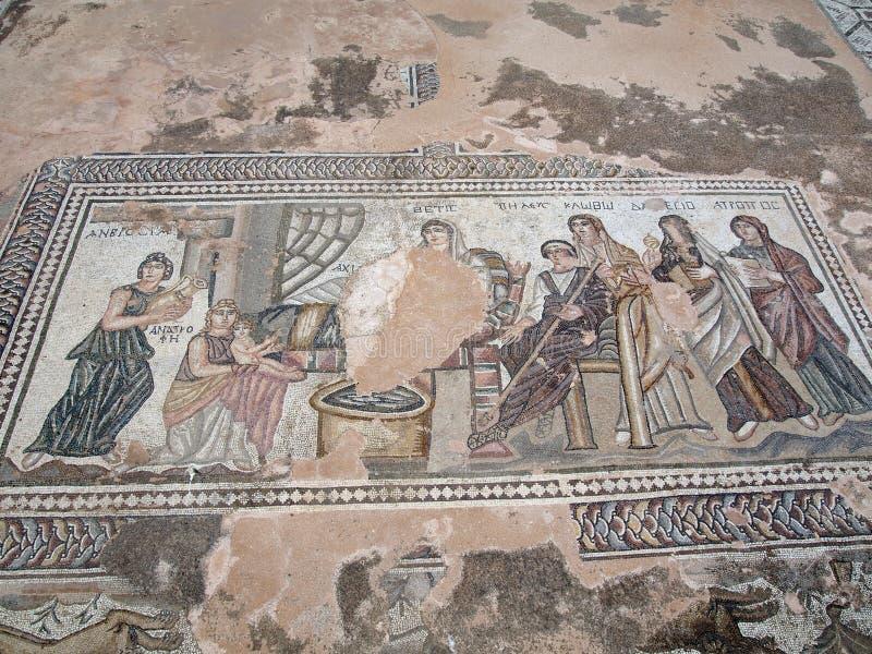 Paphos mosaiker fotografering för bildbyråer