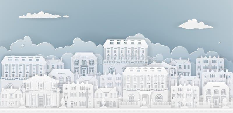 Papierów domów rząd royalty ilustracja
