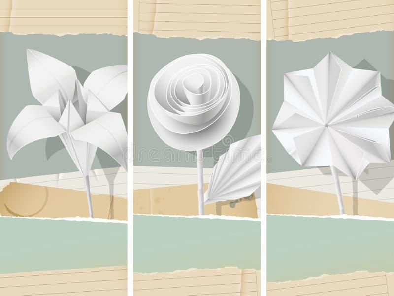 Papierów kwiatów sztandary ilustracja wektor