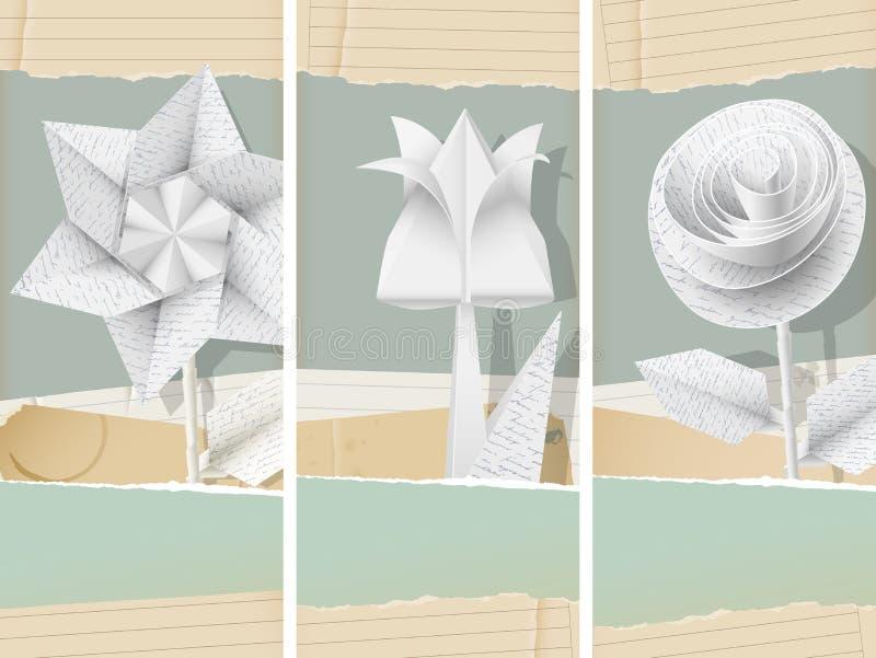 Papierów kwiatów sztandary royalty ilustracja