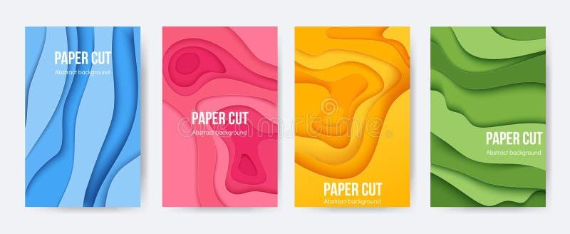 Papierów rżnięci plakaty 3D tło z abstrakcjonistyczną warstwą tworzy, minimalne origami ulotki, ciecza papieru kształty Wektorowe royalty ilustracja