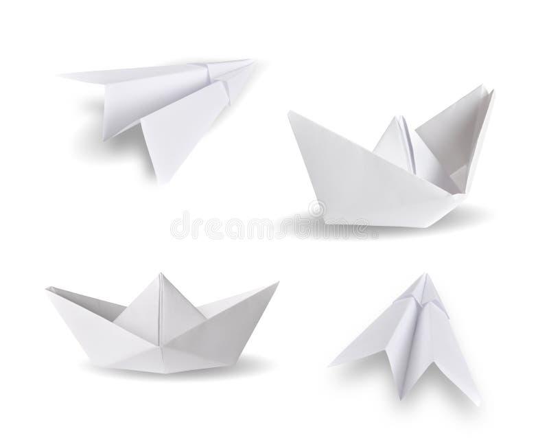 Papierów statki i papierów samoloty obrazy stock