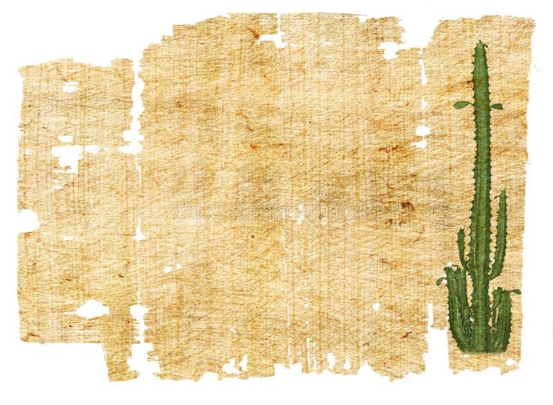 Papier âgé avec le cactus illustration de vecteur