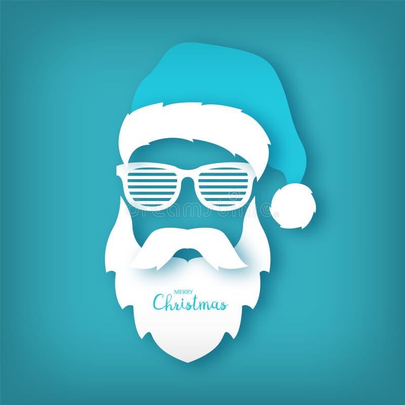 Papier Święty Mikołaj z szkłami zamyka cienie na błękitnym tle ilustracji