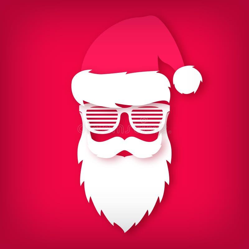 Papier Święty Mikołaj z szkłami zamyka cienie na czerwonym tle ilustracja wektor