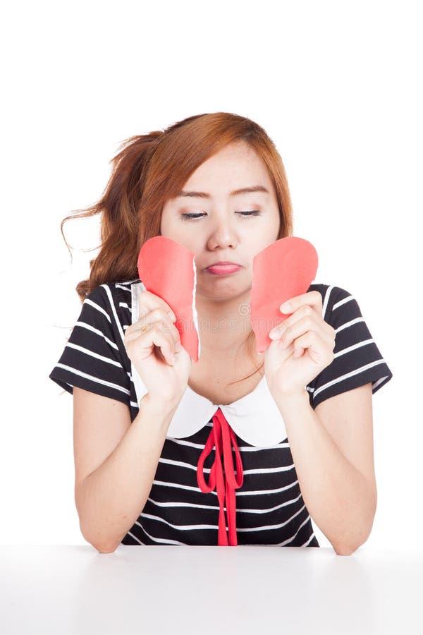 Papier asiatique triste de forme de coeur de larme de fille images libres de droits
