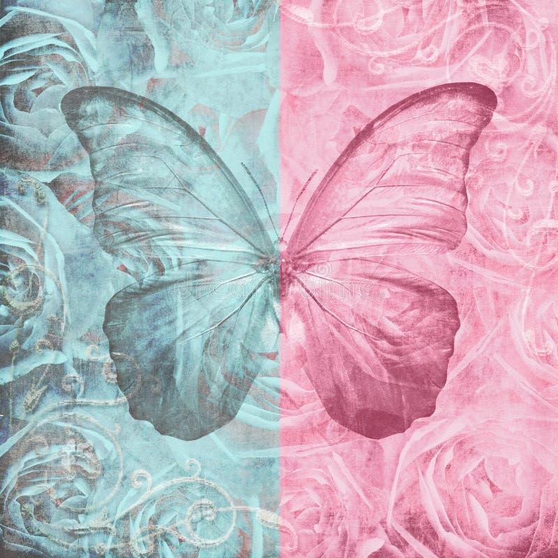 Papier avec des roses et butterfy illustration de vecteur