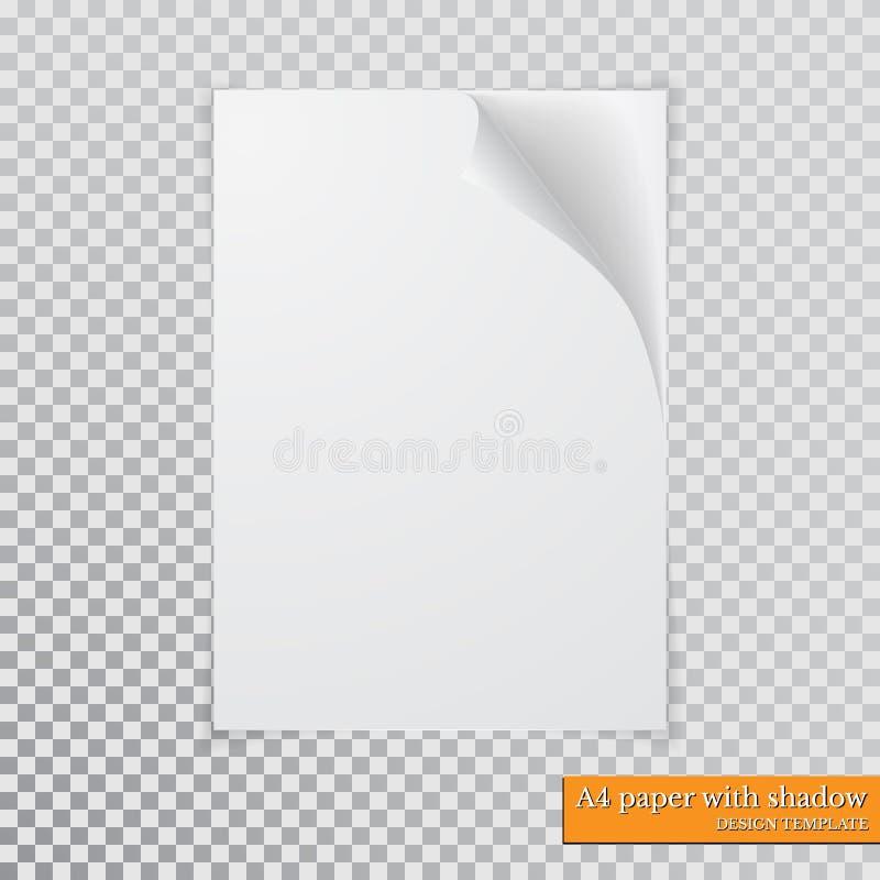 Papier A4 avec le calibre de conception d'ombre, vecteur illustration de vecteur