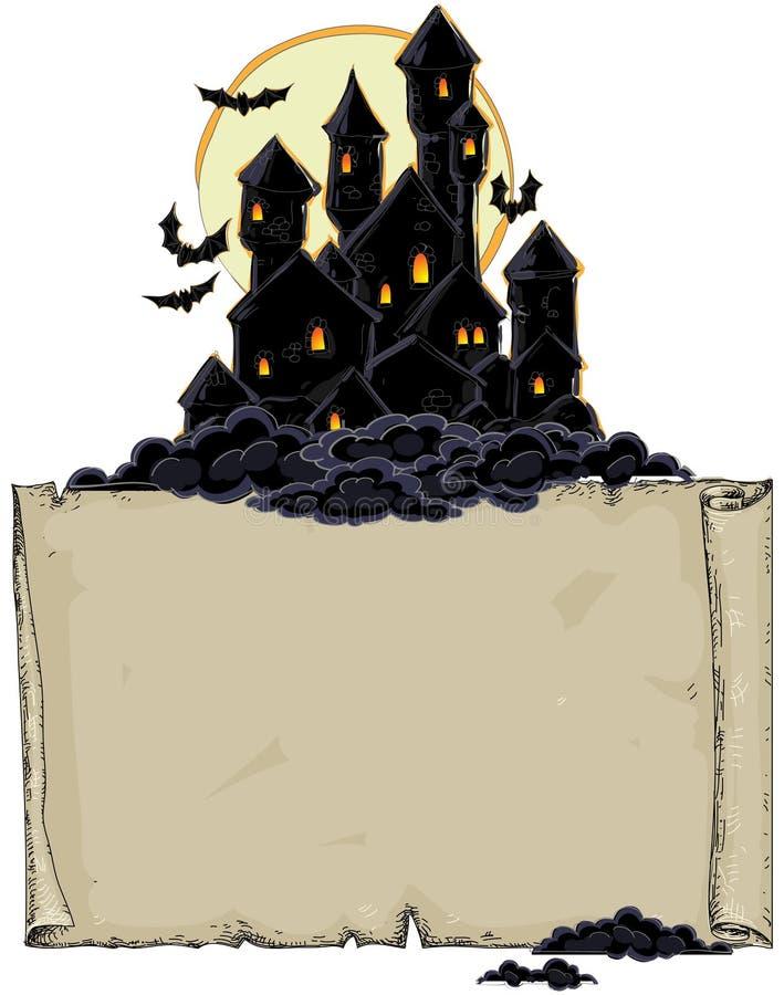 Papier avec le château noir illustration libre de droits