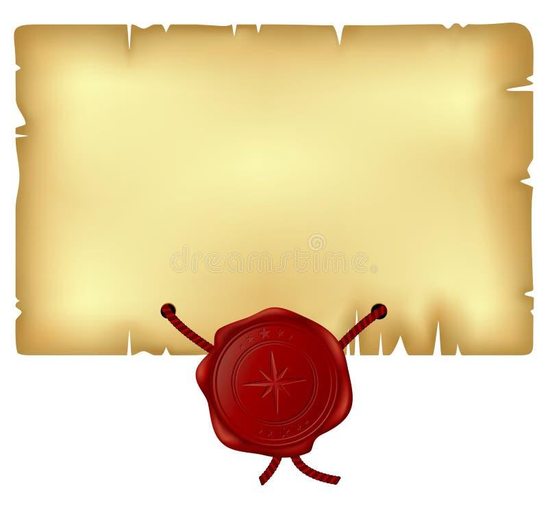 Papier avec le sceau de cire illustration stock