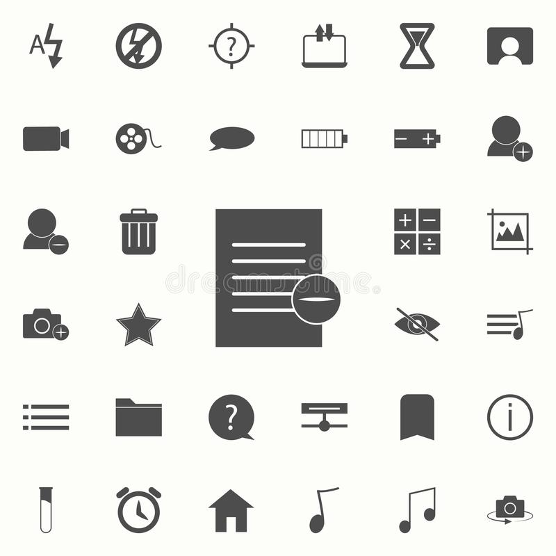 papier avec un signe d'icône de déduction ensemble universel d'icônes de Web pour le Web et le mobile illustration de vecteur