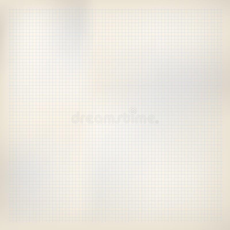 Papier beige avec les places bleues Maths, feuille de cahier de grille Fond pour l'école illustration de vecteur