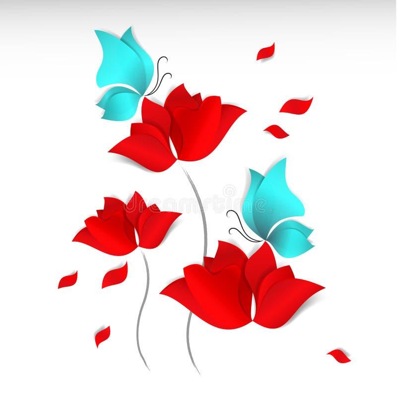 Papier-besnoeiing stijl rode bloemen, blauwe vlinders en vliegende bloemblaadjes op witte achtergrond 3D vector, kaart, gelukkige stock illustratie