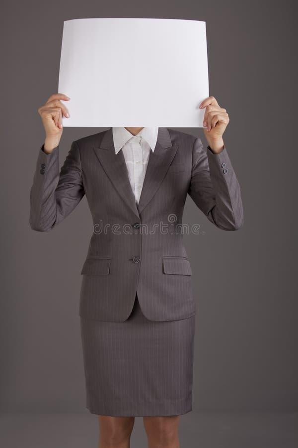 Papier blanc au-dessus de visage images libres de droits