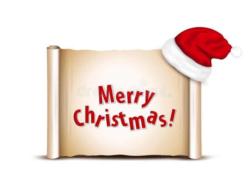 Papier blanc avec Santa Hat sur un fond de Noël blanc illustration libre de droits