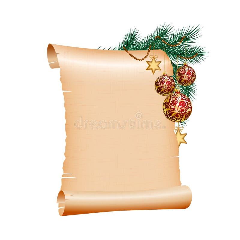 Papier blanc de défilement de Noël sur le fond blanc illustration stock