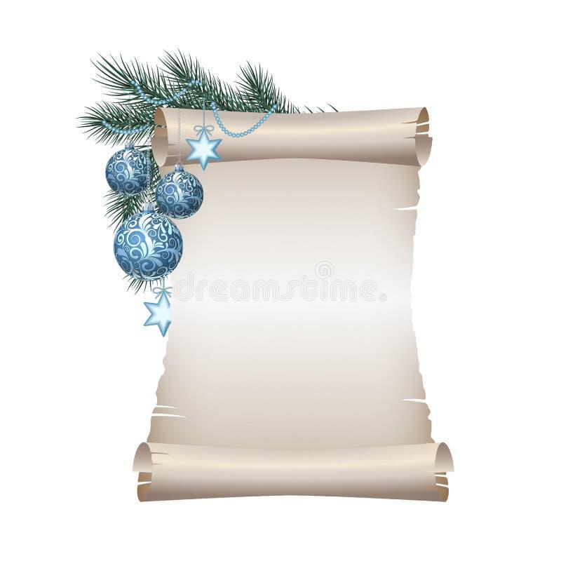Papier blanc de défilement de Noël sur le fond blanc illustration libre de droits