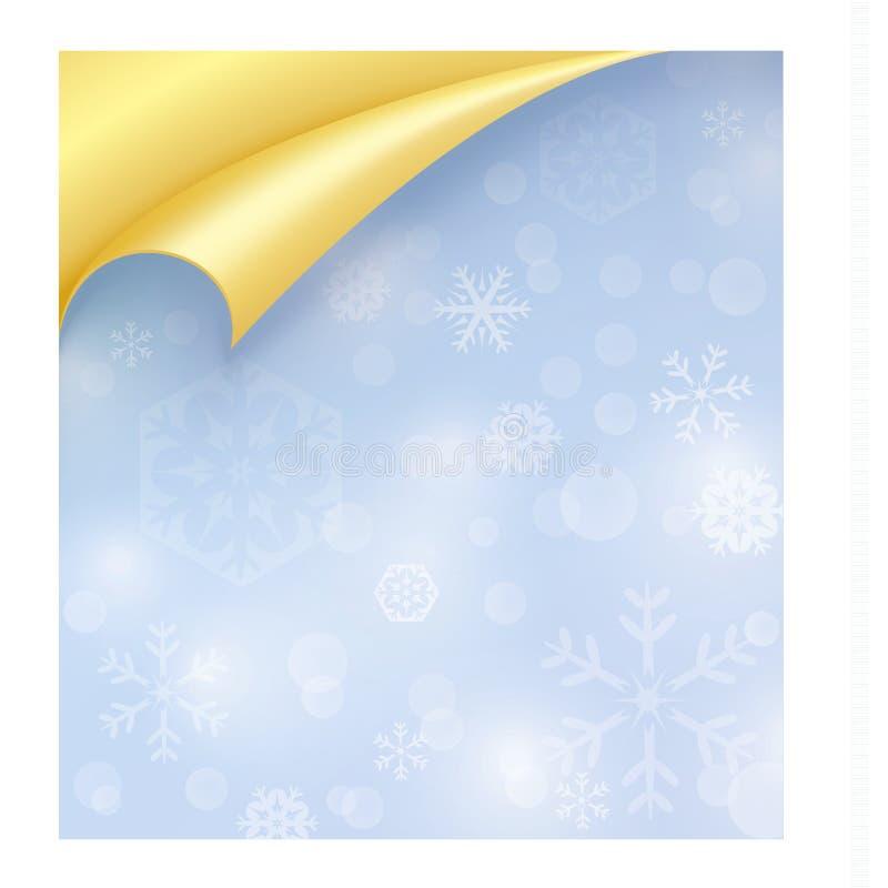 Papier bleu-clair avec la texture de flocon de neige et enroulé illustration stock