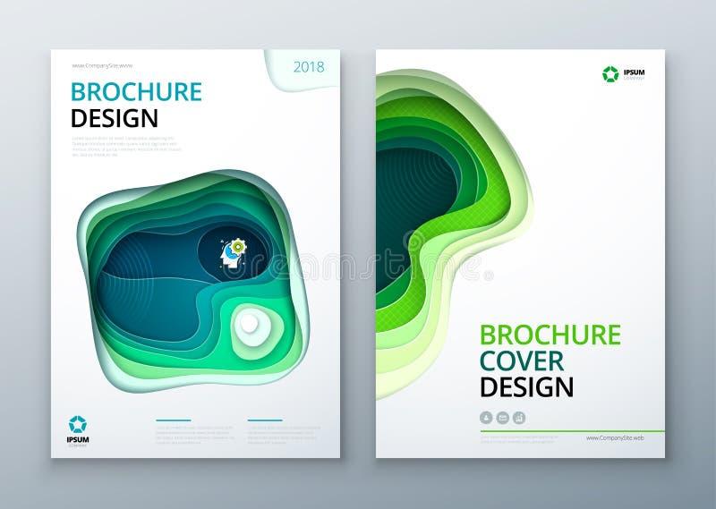 Papier broszurki projekta rżnięty papier rzeźbi abstrakt pokrywę dla broszurki ulotki magazynu katalogu projekta w zielonym cyran ilustracji
