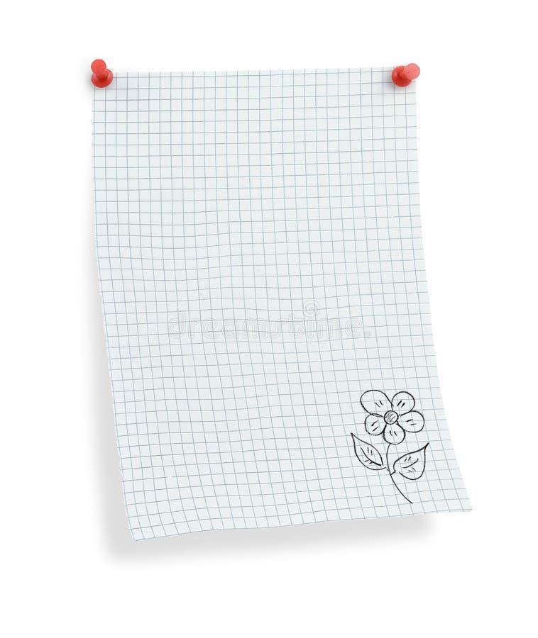 Papier carré de Thumbtacked avec le motif de fleur image stock