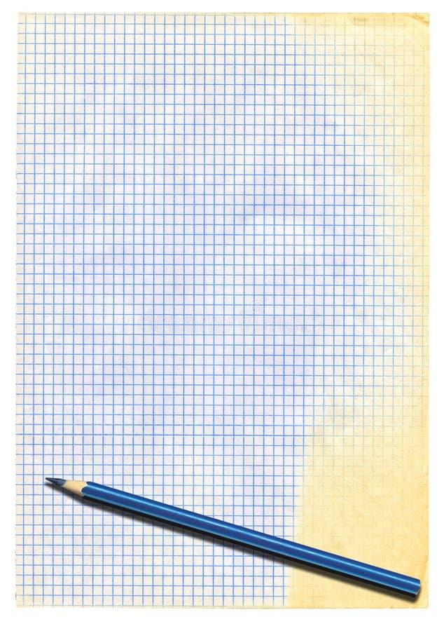 Papier carré et crayon jaunis photos libres de droits
