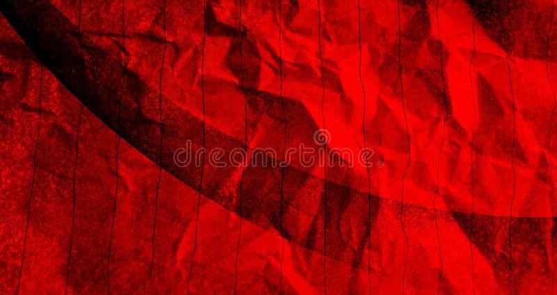 Papier chiffonné abstrait rouge avec des effets noirs de mélange de couleur avec le fond de texture illustration de vecteur